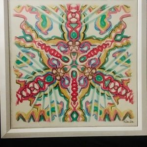 Framed Painted Patterned Tile Wall Decor